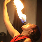 Fire Eater, Kristin Ward, performing for an company party in PIttsburgh, Pennsylvania.