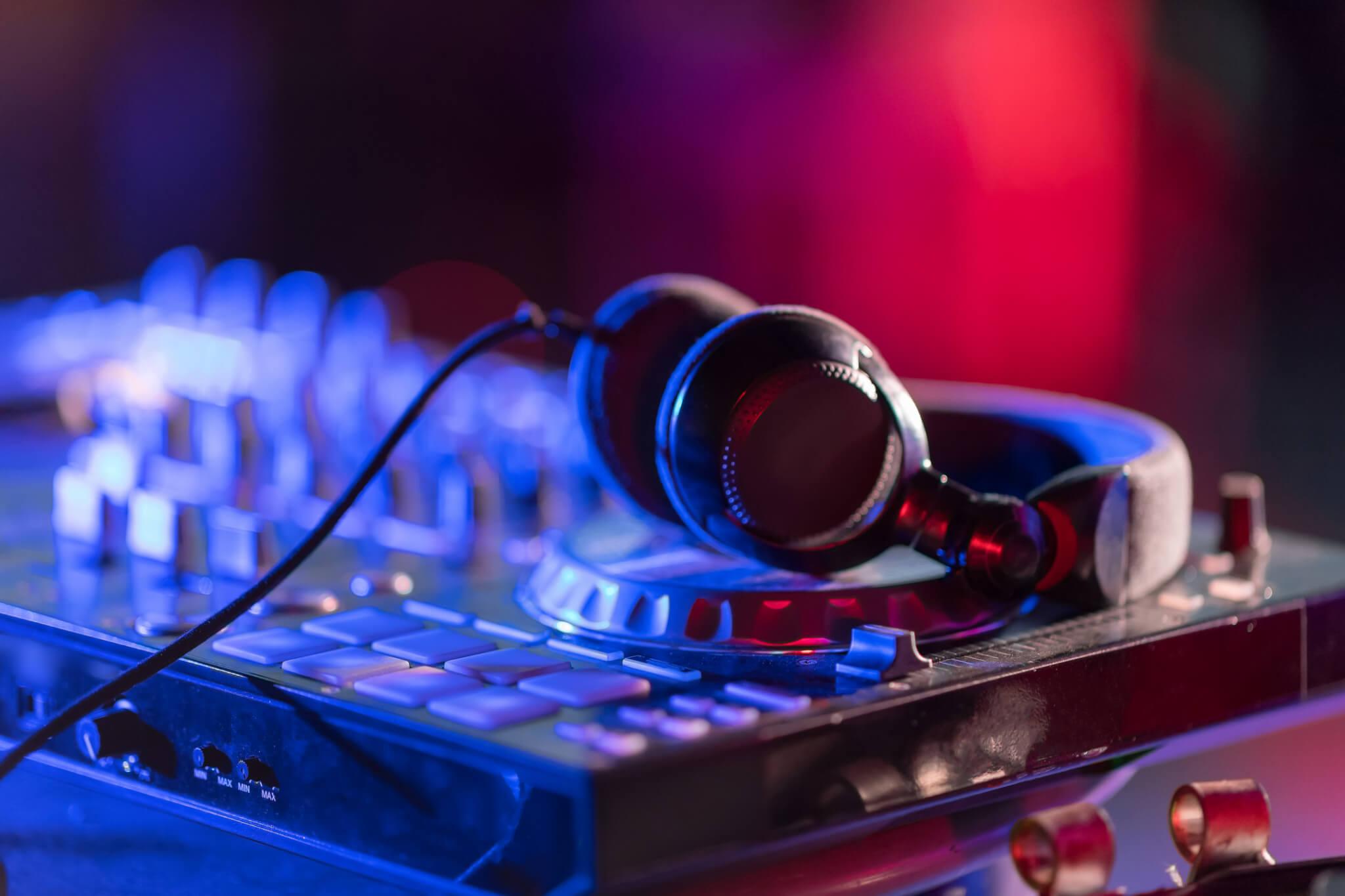 Wedding DJ console with Headphones