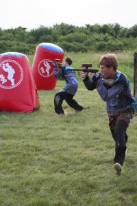 laser tag in a field.