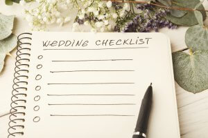 Wen making a checklist for your wedding. Make sure to include a wedding!DJ