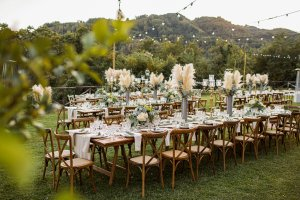 outdoor wedding reception seating area